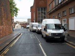 Vans parked